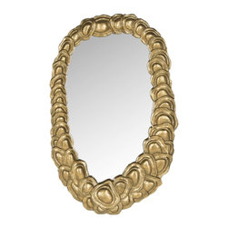 Safavieh - Sasha Mirror - Evoking images of Hawaiian floral leis, the Sasha mirror crosses the barrier between jewelry and decorative art. Hand-forged iron blossoms in graduating size form a contemporary necklace -shaped frame finished in heirloom-quality antique gold.
