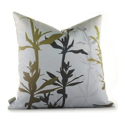 """Inhabit - Morning Glory Wildflower Pillow in Silver and Olive - The Morning Glory collection makes being in a room an easy thing to do. Don't blame us if you are late for work, sleep right through morning mass or find yourself secretly wishing for rainy days. We use perfect thread counts matched with the right fabrics to ensure ridiculous softness and comfort. Features: -Morning Glory collection. -Made from 100% sustainable recycled polyester. -Handprinted and handmade in the USA. -Environmentally-friendly inks with no chemical waste or disposal generated. -Recyclable at the end of its life-cycle. -Zipper closure for easy removal and cleaning. -Pillow inserts are 95% feather / 5% down. Specifications: -Material: Polyester. -Available sizes:. -18"""" W x 18"""" L. -13"""" W x 24"""" L."""