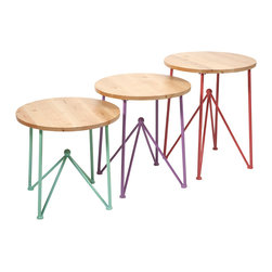Colorful Alice Metal and Wood Accent Tables - Set of 3 - *With simple triangular legs and wood table top, the Alice tables are a subtle infusion of color for your sun room.