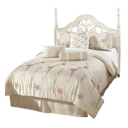 """Alexis Down Alternative Comforter Set, Off-White, Queen - The warm and calming light-beige Alexis bed-set is perfect for the individual who is seeking peace and tranquility in their room. The comforter is detailed with stitched forest-green stems, avocado-green leaves, while the flowers are accented with red, purple, and white stitching. The floral stitching covers the bottom third of the comforter. The shams include the same color detail and stitching as the comforter. The decorative pillow details purple vertical stitching in forest-green, avocado-green, purple, and red stitched leaves."""""""