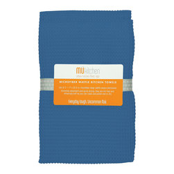 MU Kitchen Palace Blue Microfiber Waffle Dish Towels - The beautiful MU kitchen waffle microfiber kitchen towel 2 piece set  is made from a revolutionary microfiber  a specially designed cloth that is woven in a unique pattern from polyester fibers that create tiny scoops that suck up dirt and attract micro-particles. Microfiber is softer than silk and stronger than cotton. The cloth is so well crafted  it renders harsh cleaning chemicals entirely unnecessary.  Product Features      Set of 2 - 17 x 25 in. towels   Waffle microfiber construction   Lint and streak free cleans and polishes like no other wet or dry   Super absorbent - holds 7 times its weight in liquid   Quick drying - 10 times faster drying time   Reduces bacteria growth with quick drying time   Finished with a hanging loop for convenience