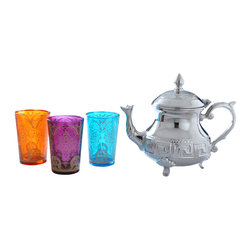 "Divine Designs - Nickle plated Multi-colored Moroccan Tea Set - ""This stunning Moroccan Tea Set offer a new and unique experience to dining. The vibrant colors and distinguishing designs are stylish and will most certainly impress any house guest while entertaining."