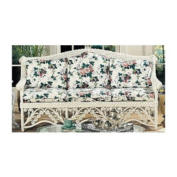 Spice Island Wicker - Gazebo Wicker Frame Sofa (Antique Floral) - Fabric: Antique FloralDoctors always suggest that you spend more time outdoors.  With this exquisitely beautiful and luxuriously comfortable wicker frame sofa, outfitted with your discerning choice of brown wash or white finish, you just might be spending more time relaxing outside on your patio.  Unless, of course, you find this sofa to perfect to leave outside!  Bring your living or sunroom space together with a wicker sofa that features apron botanicals and braided, overlapped framing.  Choose a white or brown wash finish and browse the vast selection of fabric colors and patterns for perfectly complemented cushions. * Solid Wicker Construction. White Finish. For indoor, or covered patio use only. Includes cushion. 76 in. W x 36 in. D x 39 in. H