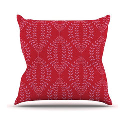 """Kess InHouse - Anneline Sophia """"Laurel Leaf Red"""" Maroon Floral Throw Pillow (Outdoor, 20"""" x 20"""" - Decorate your backyard, patio or even take it on a picnic with the Kess Inhouse outdoor throw pillow! Complete your backyard by adding unique artwork, patterns, illustrations and colors! Be the envy of your neighbors and friends with this long lasting outdoor artistic and innovative pillow. These pillows are printed on both sides for added pizzazz!"""