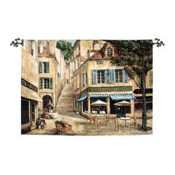Cafe De La Place Nde - 70W x 50H in. - Take your ease around the Cafe De La Place Nde - 70W x 50H in. tapestry. This quaint piece was woven on jacquard looms using cotton and blended yarns.About Manual Woodworkers and WeaversManual Woodworks and Weavers is a third generation, family owned manufacturing company based in North Carolina. They have been creating quality gifts, home furnishings, and home décor in the USA since 1932. Their innovative designs and ability to identify trends in the gift and decorative accessories industry has won them numerous number one rankings in home décor by Gift Beat Magazine.