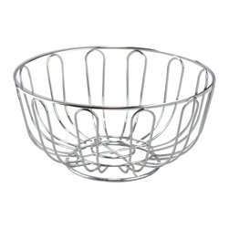 """Cuisinox - 24 x 12 cm Round Fruit/Bread Basket - Use this perfectly suited bread basket to serve your fresh bread or delicate rolls at home or in the finest restaurants. What is important to note about this bread basket is that it will not tarnish nor change color like similar silver plated baskets. Ours is entirely made from 18/10 stainless steel and therefore will never tarnish and will look bright and shiny for many years. Also makes a great fruit basket.; Material: 18/10 Stainless steel; 24 cm diameter; Country of Origin: Taiwan, Province Of China; Weight: 1 lbs; Dimensions: 4.5""""H x 9.5""""W x 9.5""""D"""