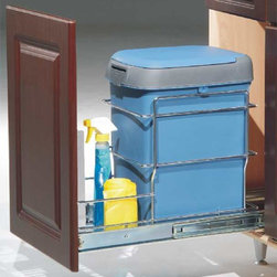 Website Catalogue - Waste pullout. Available as ball bearing (041-FJ132A) or soft-close (041-FJ132C). Comes with all hardware, bin and lid. Brackets (041-FJ10) are available to mount the door to the pullout.