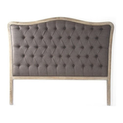 Zentique - Maison Tufted Aubergine Linen Headboard by Zentique, Aubergine, King - Natural oak frames this classily shaped headboard which has been updated with linen tufting for a soft welcoming look. Compliment this with neutral or colorful bed linens to reflect your personal style.