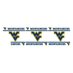 Sports Coverage - NCAA West Virginia Mountaineers Self Stick Wall Border - It's so quick and amazing, just peel and stick! Self-stick, removable, and reusable NCAA West Virginia Mountaineers Wall Borders are the easy way to decorate and won't damage walls! Peel and Stick technology will adhere to any smooth surface. Washable and dry strippable. Colorful graphics are printed on durable, tear-resistant vinyl wall border in the repeating pattern shown. Size: 5 x 15' long per package. It's so quick and amazing, just peel and stick! Installation has never been so easy!