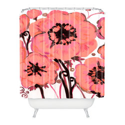 DENY Designs - Natasha Wescoat Anemone Pink Shower Curtain - Who says bathrooms can't be fun? To get the most bang for your buck, start with an artistic, inventive shower curtain. We've got endless options that will really make your bathroom pop. Heck, your guests may start spending a little extra time in there because of it!