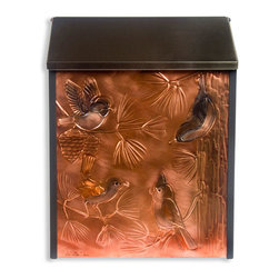 Wild Birds Locking Wall-Mount Copper Mailbox - Perfect for the bird enthusiast, this locking wall mount copper mailbox is hand-embossed with four beautiful wild birds. The stainless steel lid conceals the mail slot and lock from view.