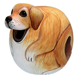 Songbird Essentials - Yellow Lab Gord-O Birdhouse - Songbird Essentials adds color and whimsy to any garden with our beautifully detailed wooden birdhouses that come ready to hang under the canopy of your trees. Hand-carved from albesia wood, a renewable resource, each birdhouse is hand painted with non-toxic paints and coated with polyurethane to protect them from the elements. By using all natural and nontoxic components Songbird Essentials has created a safe environment complete with clean-out for our feathered friends.