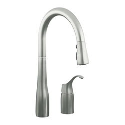 KOHLER - KOHLER K-647-VS Simplice Pull-Down Kitchen Sink Faucet in Stainless Steel - KOHLER K-647-VS Simplice Pull-Down Kitchen Sink Faucet in Stainless SteelThe new Simplice pull-down kitchen faucet beautifully combines an elegant transitional high-arch design with exceptional ergonomics and functionality to deliver a truly innovative faucet solution for a wide variety of kitchen applications. The Simplice sprayhead utilizes solid sculpted buttons to provide improved operation even with wet or soapy hands. It also includes a pause function to temporarily pause water flow to permit movement of sprayhead out of sink area to fill pots.KOHLER K-647-VS Simplice Pull-Down Kitchen Sink Faucet in Stainless Steel, Features:• Transitional styling