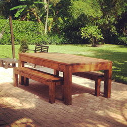 """Outdoor /Indoor Rustic All wood Dining Table w/ Benches - This item is currently in a unfinished form but will be completed based on your request. Whitewash, Stained, painted, or Unfinished as per your request. Standard Size Table is 72x36x32"""", Package comes with 2 Benches. All pieces are made to fit your home. You must call 305-283-2388 or email mayhemfurniture@gmail.com to place and pay for the order."""