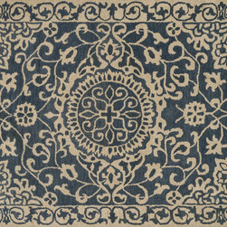 "Loloi Rugs - Loloi Rugs Fairfield Collection - Blue / Ivory, 5'-0"" x 7'-6"" - Updated traditional' may seem like the perfect paradox, but that's exactly the style you can expect from the Fairfield Collection. These classic designs have been refashioned to feature narrower borders and less ornate pattern for a look that's timely, yet timeless. And while your eyes admire the design and colors, your feet will thank you for the feel of thick, all wool pile. Hand-tufted in India, Fairfield rugs are a new classic for today."