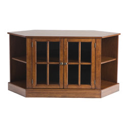 """Holly & Martin - Parkridge Corner Media Stand, Walnut - Traditional styling with modern convenience, this corner media stand is finished with a beautiful walnut stain and faced with lovely windowpane doors. Capable of holding up to a 42"""" TV, this corner media stand is ideal for any room. The spacious center storage area is complete with one adjustable shelf and cord management behind the stylish glass doors. On either side sits a corner shelf for storing media, books, or decoration in an open display style."""