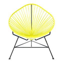 Baby Acapulco Chair, Yellow Weave On Black Frame - The classic avocado shape of this chair — known as the Acapulco — is a great design for indoor or outdoor use. The smaller woven vinyl seat is perfect for children or adults, and the galvanized steel base is sturdy and resistant to rust. This is a great solution for your backyard this summer.