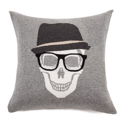 Rani Arabella - Rani Arabella Azure Skull Hat Cashmere Blend Pillow, Gray - Add a bold, quirky print to your living or dining room using the Skull Hat Cashmere Blend Pillow. Made from 70% cashmere and 30% wool, this pillow features a white skull image with glasses and fedora against a gray background. Pair it with neutral-toned decor for a cohesive, but eye-catching look. Includes a 50% down and 50% polyester insert. Dry clean only. Made in Italy.