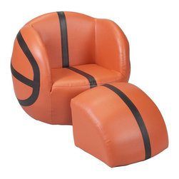 Gift Mark - Basketball Kid's Novelty Chair and Ottoman Set - Features: -Basketball Pattern.-This delightful sports chair and ottoman are just the right size, for children to rest after a long day of school or play.-The fabric is a ''milky-soft'' leather-like fabric, designed for many years of comfort and joy.-The fabric can be easily cleaned with mild soap and water.-The Gift Mark sports chair and ottoman, are extremely inviting, with their thick padded cushions, that are so soft.-Your child will slip right into this chair and ottoman and will never want to sit anywhere else.-The chair and ottoman are constructed of a wooden base.-Distressed: No.-Country of Manufacture: United States.