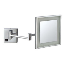 Nameek's - Square Wall Mounted LED 3x Makeup Mirror - Wall mounted, adjustable, 3x magnification makeup mirror made of brass. Available in chrome or satin nickel finishes, this square single faced mirror features a built-in LED light. 8 Inch Square Wall Mounted Mirror. Single Face Makeup Mirror. 3x Magnification. LED Light. Made of Brass. On/Off Switch on Base. Contemporary Style Makeup Mirror. Base made from stainless steel. Italian Design.