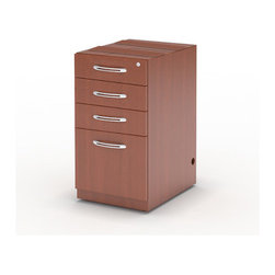 "Mayline - Aberdeen Pencil/Box/Box/File Pedestal - Features: -Aberdeen collection. -Dual-purpose pencil drawers for storing supplies or storing laptop computers. -Ped tops must be attached to underside of surface. -All locks are keyed alike. -Curved metal pulls with brushed nickel finish. -File drawers accommodate letter or legal size hanging file folders. -Integrated cable management access at top and bottom of pedestal. -Used for credenza/return/extended corner. -Overall dimensions: 27.5"" H x 15.25"" W x 20"" D."