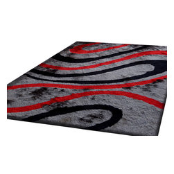 Rug - ~5 ft. x 7 ft. Grey with Red Living Room Area Rug, Shaggy & Hand-tufted - Living Room Hand-tufted Shaggy Area Rug