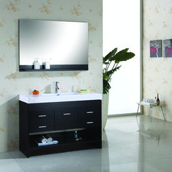 """Virtu USA 48"""" Gloria - Espresso - Single Sink Bathroom Vanity - The unique design gives the Gloria vanity a beautiful appearance while maintaining a warm modern atmosphere.  The vanity features a hospitality towel rack, very suitable for a guest bathroom.  Just as in all the modern models, the Gloria is constructed from solid wood and comes complete with mirrors and faucets.  The Gloria is truly a beautiful contemporary design. http://www.tatarishop.com"""
