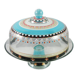 Golden Hill Studio - Mosaic Carnival Cake Dome - Under the big top: This cake dome celebrates your desserts with carnival colors and a parade of playful patterns.
