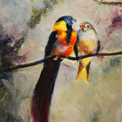 Morning Gossip (Original) by Kanayo Ede - Oil on canvas painting of two colorful tropical exotic love birds engaged in bird banter . 16in x 20in on gallery stretched canvas. Framing is optional but it can go straight on the wall for your enjoyment right out of the box.