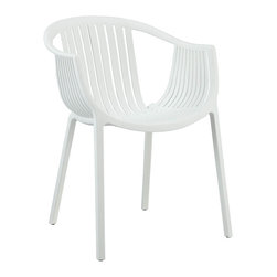 "Modway - Hammock Dining Armchair in White - Retreat back to the outdoors with the splendid embrace of the Hammock chair. Made from durable molded plastic, Hammock is suitable for all weathers and conditions. Notable for its distinctive woven pattern and wide arching support, enjoy the festivities while snugly seated in this contemporary chair. Set Includes: One - Hammock Green Plastic Stackable Outdoor Modern Dining Chair. Suitable for indoor or outdoor use; Easily clean with damp cloth; Fully Stackable; No Assembly Required; Non-marking feet; Overall Product Dimensions: 23""L x 22""W x 30""H; Seat Dimensions: 16""L x 16""W x 17""H; Arm Height: 26""H."