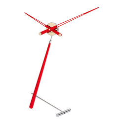 Nomon - Puntero L Red Clock - Puntero L Red Clock in Steel and Lacquered Walnut, Made in Spain