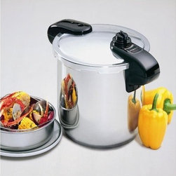 Presto - 8-Quart Stainless Steel Pressure Cooker - The Presto Professional 8-qt Stainless Steel Pressure Cooker cooks healthy, flavorful meals fast and easy! Cooking times are 3 to 10 times faster than ordinary cooking methods. Even faster than a microwave for many foods! Tri-clad base features a layer of aluminum sandwiched between two layers of stainless steel for quick, even heating. Make healthy meals that are full of flavor in significantly less time than a traditional oven with this stainless steel 8 quart pressure cooker! Features: -Cooking times are 3 to 10 times faster than ordinary cooking methods.-Helps tenderize leaner cuts of meat.-Pressure cooking preserves flavors and nutrients.-Tri-clad base features a layer of aluminum sandwiched between two layers of stainless steel for quick, even heating.-The quick pressure/steam release system ensures precision cooking.-Luxurious stainless steel for long-lasting beauty and easy cleaning.-Includes stainless steel steamer basket and 64-page instruction/recipe book.-Product Type: Pressure cooker.-Collection: Presto.-Finish: Stainless Steel.-Hardware Finish: Stainless steel, plastic, aluminum.-Distressed: No.-Powder Coated Finish: No.-Gloss Finish: No.-Base Material: Metal -Base Material Details: Stainless Steel, Aluminum..-Hardware Material: Stainless steel.-Number of Items Included: 1.-Scratch Resistant: No.-Shatterproof: No.-Heat Resistant: Yes.-Rust Resistant: Yes.-Stain Resistant: Yes.-Odor Resistant: Yes.-Non-Skid: No.-Non-Stick: Yes.-Electric: No.-Thermostat: No.-Pressure Indicator: Yes.-Pressure Regulator: Yes.-Self-Agitating: No.-Recipes Included: Yes.-Safety Valves: Yes.-Number of Safety Valves: 3.-Additional Safety Features: Over pressure plug, steam vent, pressure lock.-LED Display: No.-Mode Indicator Light: No.-Food Restrictions: Yes.-Stovetop Safe: Yes -Stove Type Compatibility: Gas; Electric; Induction; Glass..-Maximum psi: 15 PSI.-Minimum psi: 10 PSI.-Maximum Temperature: 252 degrees.-Minimum Tempera