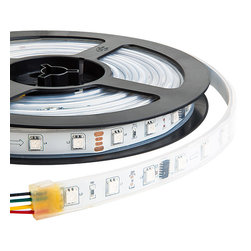 SWDC series Dream-Color Flexible RGB LED Strip - 12 Volt DC - Dream-Color Silicone Encased waterproof flexible RGB LED light strip with individully addressable LEDs providing Dynamic color chasing, sequencing, changing and static color modes. Strip is 5 meters (16.45 ft) long with 240 high power 5050SMD RGB LEDs and connectors on both ends for power and data. For use with MCB-RGB-DC99 only. 12VDC operation.