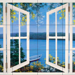 The Tile Mural Store (USA) - Tile Mural - Dr-Island Time With Window - Kitchen Backsplash Ideas - This beautiful artwork by Diane Romanello has been digitally reproduced for tiles and depicts a window scene with a water background.  Beach scene tile murals are great as part of your kitchen backsplash tile project or your tub and shower surround bathroom tile project. Waterview images on tiles such as tiles with beach scenes and sunset scenes on tiles.  Tropical tile scenes add a unique element to your tiling project and are a great kitchen backsplash  or bathroom idea. Use one or two of our beach scene tile murals for a wall tile project in any room in your home for your wall tile project.