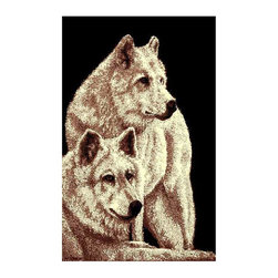 DonnieAnn - Two Wolves Area Rug in Black - Machine made. Pile height: 0.15 in.. Made from polypropylene. Made in Turkey. No assembly required. 7 ft. L x 5 ft. W
