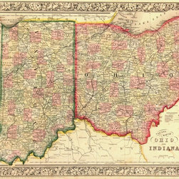Consignment Antique Map of Indiana  & Ohio, 1863 - Original antique map of Ohio and Indiana showing rivers, railroads, counties and towns. Elaborate decorative border. Engraving with original hand-color from 1863.