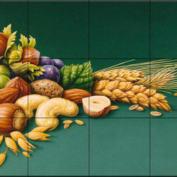 The Tile Mural Store (USA) - Tile Mural - Nuts - Kitchen Backsplash Ideas - This beautiful artwork by Harro Maass has been digitally reproduced for tiles and depicts a perfect mural for the kitchen. It includes a table with fruits and nuts.  This fruit and vegetable themed tile mural is perfect to add interest to your kitchen backsplash tile project.  Images of fruits and vegetables on tile are timeless and make an impressive kitchen backsplash idea. Wall tiles with pictures of fruits and vegetables add interest to your kitchen backsplash wall tile project.