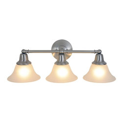 Premier - Three Light 24.5 inch Vanity Fixture - Brushed Nickel - The Sonoma lighting collection will instantly brighten the decor of any room in your home. Sonoma chandeliers, pendants, ceiling fixtures, and vanity fixtures feature everything you'll need to create a complete home lighting ensemble with a look of refined elegance and majestic charm. With a brushed nickel finish, frosted glass globes, and a striking bell-shaped design, this Sonoma three-light vanity fixture provides unique character and regal allure. Besides its decorative appeal, this fixture is also energy-efficient. It uses compact fluorescent lamps (included).