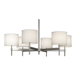 """Robert Abbey - Contemporary Echo 6-Light Stainless Steel Chandelier - From the Echo collection by Robert Abbey comes this exceptional large modern chandelier. Six lights in subtle fondine fabric shades sit atop a glistening minimal stainless steel frame. Adjustable drop from the ceiling makes this light as versatile as it is chic. Stainless steel construction. Fondine fabric shades. Direct wire hook-up only. Takes six 60 watt maximum G16.5 candelabra bulbs (not included). 40"""" wide. 12 1/4"""" high. 20 3/4"""" minimum drop. 50 3/4"""" maximum drop. Canopy is 6"""" diameter and 1 1/2"""" high. Includes one 6"""" and three 12"""" extension rods. Shades are 8"""" diameter and 6 1/2"""" high.  Stainless steel construction.  Fondine fabric shades.  Direct wire hook-up only.  Design by Robert Abbey.  A large chandelier ideal for oversized rooms.  Takes six 60 watt maximum G16.5 candelabra bulbs (not included).  40"""" wide.  12 1/4"""" high.  20 3/4"""" minimum drop.  50 3/4"""" maximum drop.  Canopy is 6"""" diameter and 1 1/2"""" high.  Includes one 6"""" and three 12"""" extension rods.  Shades are 8"""" diameter and 6 1/2"""" high."""