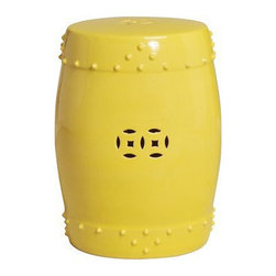 Drum Garden Stool Prosperity Design, Yellow - This stool has the word prosperity in its description. That's enough for me to snatch it up right on the spot.
