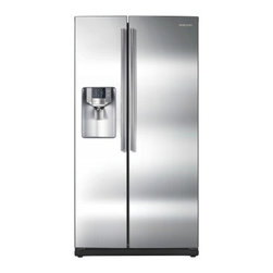 "Samsung - RS265TDRS 36"" 26 Cu. Ft. Side-by-Side Refrigerator with Thru-the-Door Ice and Wa - Big in style and in size the Samsung RS265TD has an amazing 26 cu ft of space so fitting all of your groceries is a breeze Frustrated when food spoils too soon Our advanced technology keeps your food super fresh The Samsung Twin Cooling System genera..."