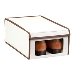Medium Natural Canvas Window Shoe Box - Honey-Can-Do SFT-02065 Large Shoe Storage Box, Natural/Brown. Throw out those old retail shoe boxes and store your shoes in style. The clear view window lets you easily see the contents while the fold down lid simplifies access. Protective cloth interior safeguards against scuffs and scratches. Stackable by design, the 16x10x6.25 inch box is a great organization tool when combined with additional boxes (sold separately). In classic off-white with brown accents, its an instant upgrade to any closet. Made of polyester and cotton canvas.