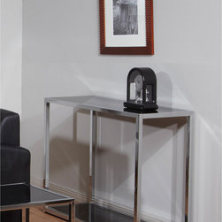 Office Star Products - Ave Six Yield Chrome and Black Glass Foyer Table - With the new Yield Chrome & Black Glass Foyer Table by Ave Six,you can let yourself invest in a money saving specimen of versatile and contemporary style that intermixes well into a variety of decors. Value and modernity all rolled into one.