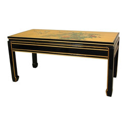 Oriental Furniture - Gold Leaf Coffee Table - Finished with real 24 carat gold leaf foil, this beautiful imported coffee table is sure to be a focal point in your decor. The gold leaf reflects light beautifully, catching an element of the color of the furniture and floor coverings closest to the table. The stunning, hand painted birds and flowers design will bring a delightful splash of vivid color to the decor of your living room or salon.