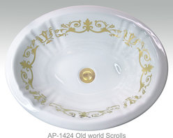 """Hand Painted Undermounts by Atlantis Porcelain - """"OLD WORLD SCROLLS"""" Shown on AP-1424 white Antigua Small undermount 16""""x12-1/4""""available on bright gold or platinum and burnished gold or platinum on any of our sinks"""