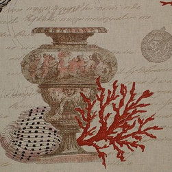 Seashell red coral fabric antique documentary toile - A seashell coral fabric with antique urns and coins from a shipwreck or Atlantis. This has to be one of the most unique ocean fabrics there is! This is one of five inter-related fabrics. There is a coral fabric, a sea fan fabric, a seahorse and coral fabric, and a colored shell fabric. They also come in blue.