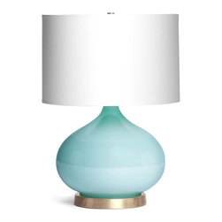 Kathy Kuo Home - Candace Contemporary Robins Egg Blue Glass Table Lamp - Add a pop of vibrant color beside the bed or on either end of your sofa with this midcentury modern masterpiece. With its shapely teardrop silhouette, it works well solo or in pairs.