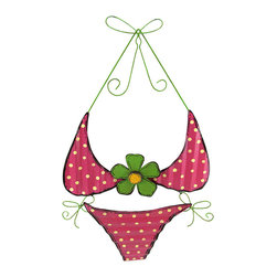Zeckos - Tin Pink Polka Dot Bikini Wall Hanging - Add a fun accent to your beach decor or tiki bar with this teeny weeny yellow polka dot bikini wall hanging It isn't so small after all, measuring 27 1/2 inches long, 17 1/2 inches wide, and 1 inch deep. It is hand painted, and easily mounts to any wall with a single nail or screw.