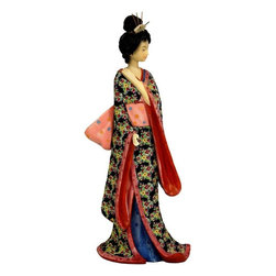 "Oriental Furniture - 14"" Geisha Figurine w/ Pastel Sash - Note the artistry and fine craftsmanship in this beautiful Japanese geisha statue. A solid, heavy resin casting with a pale pink pastel obi accenting her lovely black pattern kimono. Japanese art motifs tend toward outdoor subjects; geisha are a wonderful exception. The way they holds their hands, the inscrutable emotions on their faces, and the details of their hairstyle, hairpins, and combs, are works of art in themselves."