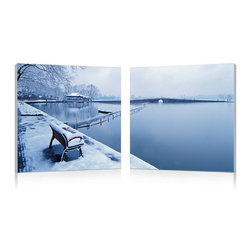 Baxton Studio - Baxton Studio Wintry Wonder Mounted Photography Print Diptych - Pastoral, pristine freshly fallen snow around the peaceful stillness of a lake embodies the winter season in this modern photography wall art set. Two MDF wood frames each display half of the photo, printed on sheets of waterproof vinyl canvas that are manufactured and fully assembled in China. The Wintry Wonder Modern Diptych is ready to hang though requires you to supply your own mounting hardware. Easily maintain a dust-free appearance by simply wiping the frames with a dry cloth.